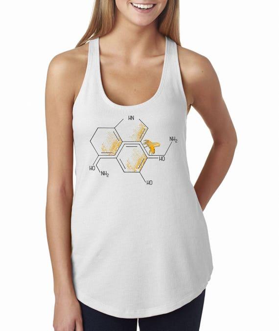 Nectar of life | Satin Jersey Ladies' Shirttail Tank | Graphic tank top | Serotonin and dopamine chemical formulas  | Original Artwork |