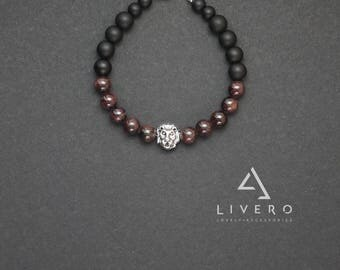 LION bracelet for men. Shungite bracelet with LION. Mens bracelet with LION. Black shungite bracelet. Garnet bracelet. Lion bracelet.