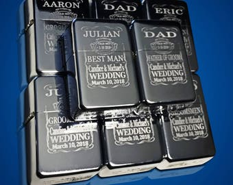 6 Engraved lighters - Custom engraved lighter in box - Personalized Groomsmen gift - Engraved wedding gift set - Best Man & Groomsman Gifts