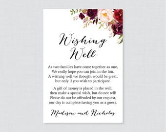 Printable OR Printed Wedding Wishing Well Cards - Marsala Floral Wishing Well Wedding, Burgundy and Pink Flower Wishing Well Inserts 0006