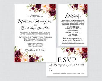 Printable OR Printed Wedding Invitation Suite - Marsala and Pink Floral Wedding Invitation Package - Rustic Wine Flower Wedding Invites 0006