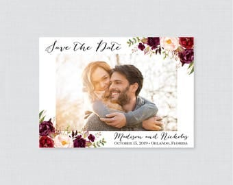 Printable OR Printed Photo Save the Date Cards - Floral Photo Save our Date Cards for Wedding - Marsala and Pink Flower Save the Dates 0006