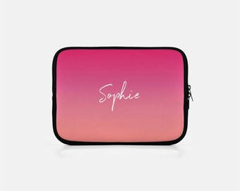 Personalized Laptop Sleeve, Ombre Laptop Sleeve, Custom Laptop Sleeve, Personalized Macbook Sleeve, Pink Laptop Case, Macbook Pro 15 inch