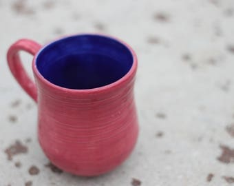 Rose & Royal Blue Hand-Thrown Mug