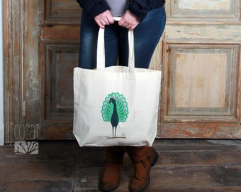 Canvas tote bag printed; proud as a Peacock