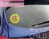 Sunflower Monogram Decal, Sunflower Decal, Monogram Decal, Monogram Decals, Monogram Car Decals