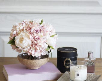 Artificial/ Faux Peony Hydrangea with Flower Pot
