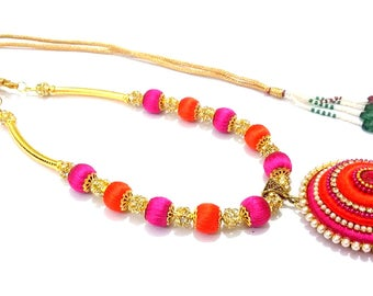 Silk Thread Necklace / Indian Jewelry/ Thread Necklace