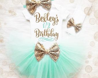 1/2 Birthday Tutu Set Baby Girl | Half Birthday Outfit | Baby Girl Half Birthday Tutu Set | Baby Girl Birthday Shirt | Girl 1/2 Birthday