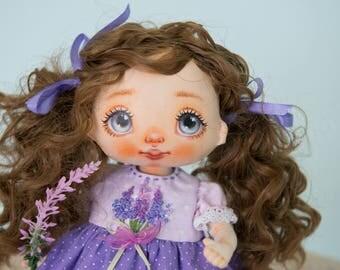 Textile doll, rag doll, cloth doll, fabric doll, art doll, interior doll, OOAK doll, embroidy, lavender, vintage doll, gift -AliceMoon #74
