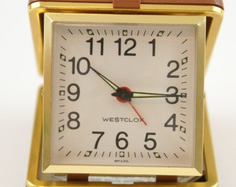 Vintage Westclox Travel Analog Alarm Clock in Hard Plastic clam Shell Case | Made in Brazil| Windup Travel Mechanical Alarm Clock