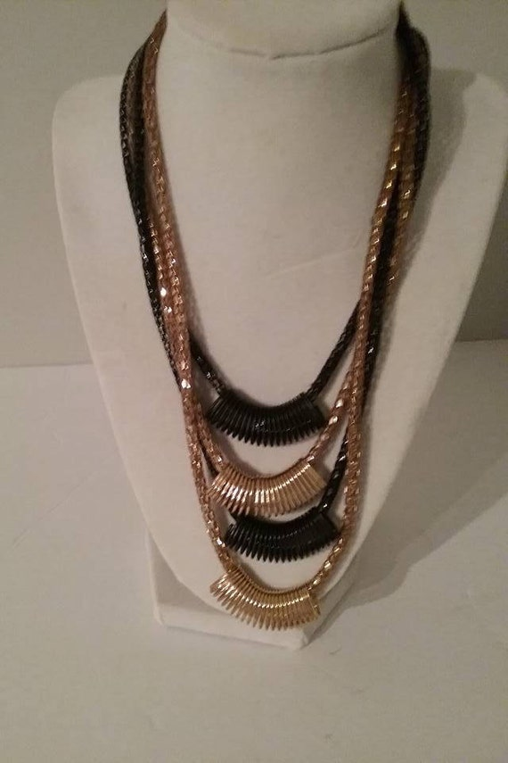 Retro Statement Necklace, Vintage Black and Gold Tone, Herringbone Chunky Necklace, Retro Black and Gold 4 Strand Necklace, #MakeAstatement