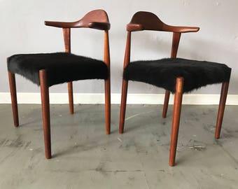 Pair of Danish Modern Teak Bullhorn Chairs with Cowhide Upholstery