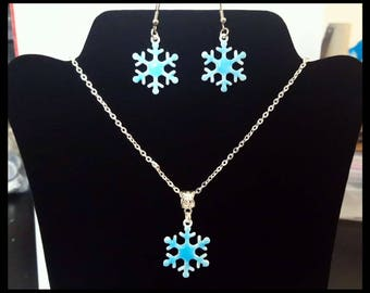 Necklace and Earrings Snowflakes