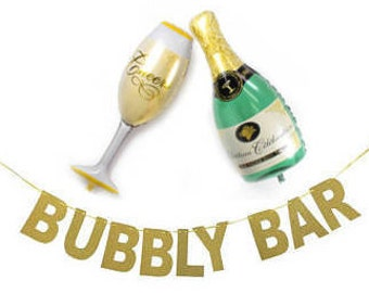 Champagne Bar Banner and Balloons Set for Bachelorette Party, Engagement Party, Birthday Party, New Year's Eve, Wedding