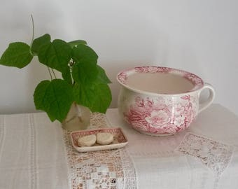 Chamber Pot Set, Soap Dish, Sarreguemines, Pink and White, Antique French Porcelain, French Boudoir