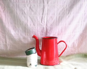 Red Enamel - Large Red Enamel Watering Can - Red Watering Can - Red Enamel - Rustic Kitchen Decor - Red Decor - Old Enamel - Country Kitchen