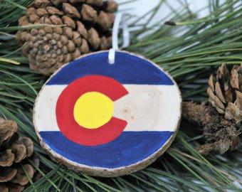 Colorado Ornament on Beetle Kill Pine Slices - Real Colorado Ponderosa Pine Wood