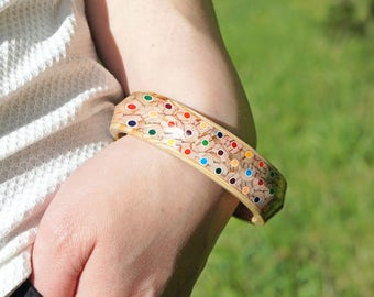 Bracelet from colored pencils, Bangle from pencils, Handmade jewelry, Bracelets, Pencil art, Colored pencils, Bangle bracelet