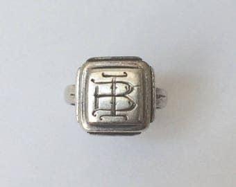Vintage 1930's Silver Square Signet Ring BI Engraved Cursive Initials Cartouche Monogram Size I