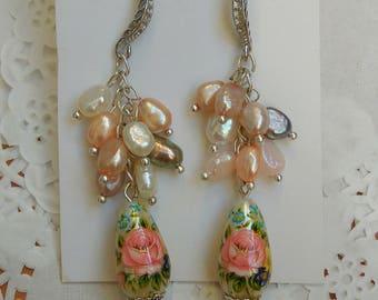 Perl drop earrings Pearl dangle earrings  Silver Dangle earrings Tensha Wedding  earrings  Bridal earrings Tensha beads earrings