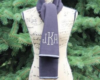 Women's Monogrammed Scarf, Monogram Scarf Women, Winter Scarf, Personalized scarf, Fleece Scarf, Black Scarf, Gift for her, Monogram