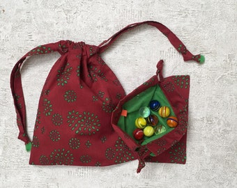 smallbags red cotton Voile red lined green veil - 2 sizes - reusable cotton bag - zero waste