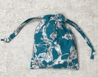 turquoise blue floral smallbags - cotton bag