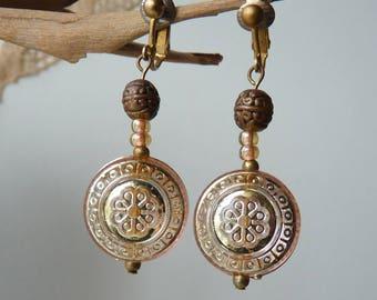Gold Tone Dangle Clip On Earrings Vintage Gold Retro Jewelry Dangle Retro Earrings, Costume Jewelry, Art Deco Gold ,Boho Earrings