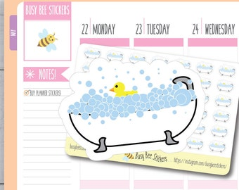 Bath Planner Stickers, Bathtub Stickers, Bath Time, Relaxing Stickers, Personal Sticker, Cute, Happy Planner Stickers, Erin Condren Stickers