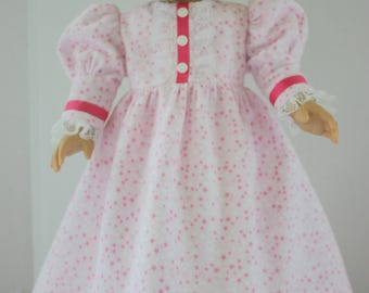 Pink star flannel princess style nightgown, American Girl nightgown, Fits 18 inch American Girl