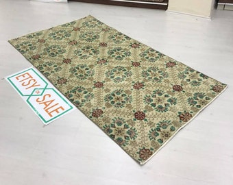 "Hallway rug,Oushak rug.6""8x3""6ft.floor rug,vintage Oushak rug,Turkish rug,Anatolian rug,Area rug,enter rug,modern rug,Flower desing rug."