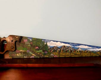 Painted Hand Saw Blade Colorful Autumn Field Landscape Country Cabin Cottage Farmhouse Home Decor Gift for Friend