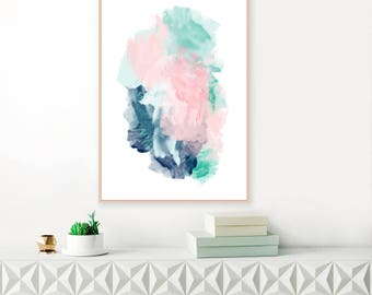 Turquoise, Pink and Navy Abstract Painting, Watercolour Print, Large Mixed Media Art, Downloadable Abstract Art, Modern Printable
