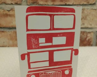 London bus, red bus, greetings card, blank birthday card, bus enthusiast, double decker card, birthday card card for him, boys card