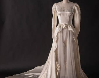 1950s Silk and Embroidered Wedding Gown