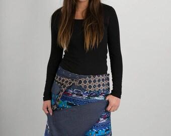 Reversible Cotton Skirt Blue Patch Denim Detachable Pocket Long Length