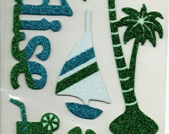 Paradise Ocean Lake Vacation Glitter Chipboard Scrapbook Stickers Embellishments Cardmaking Crafts Forever In Time