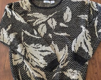 Leaf print Spirit shiny holiday black and gold women's small medium sweater