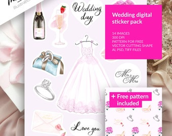 Wedding stickers pack, Planner stickers, Paper pattern, Digital watercolor, Wedding clipart, Wedding papers, Fashion, Graphics resource, Art