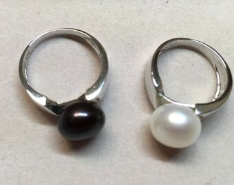 Ring.925 sterling silver and silver cultured pearl
