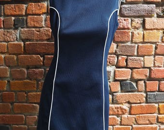 Women's 60s Navy Blue High Neck Sleeveless A Line Mini Dress With White Piping Detail Size Small
