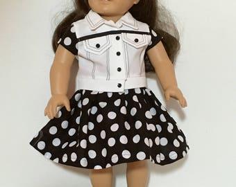 """Black & White Polka Dot dress with detailed White Vest for 18"""" dolls"""