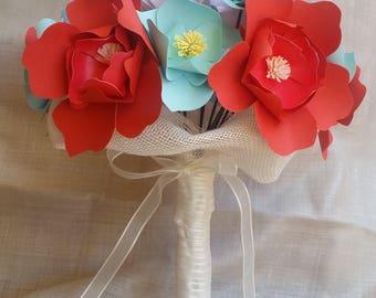 Blue Coral Wedding Bouquet
