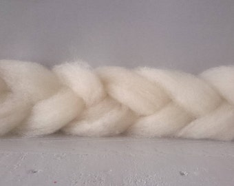 Wool Roving, Hampshire Down 100g, un dyed roving, Natural wool, spinning roving, fair trade roving, un dyed wool batt, pure white roving