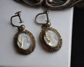 Antique Sterling Silver  Mother of Pearl Carved Shell Cameo of Grecian Lady Screw Back Earrings