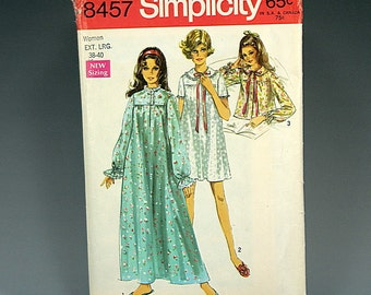 Simplicity 8457, Women's XL, Vintage, Nightgown Pattern, Bed Jacket, Long Sleeve, Short Sleeve, Pajamas, Sleepwear, Pullover, Short, Long