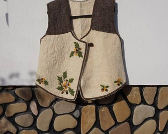 Felt Wool Vest with Needle Felted Flowers, Felt Wool Handmade Jacket
