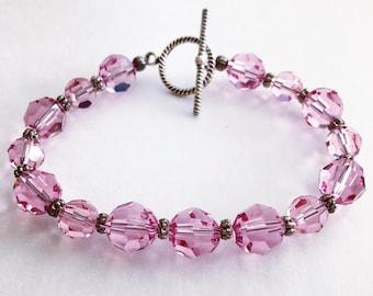 Swarovski Crystal Bracelet, Light Rose Swarovski Bracelet, Pink Bracelet, Crystal Bracelet, Bridesmaid Gift, Handcrafted Bracelet