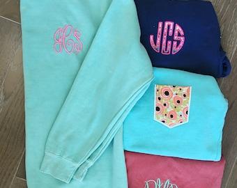 Comfort Color Sweatshirt with Monogram or Pocket